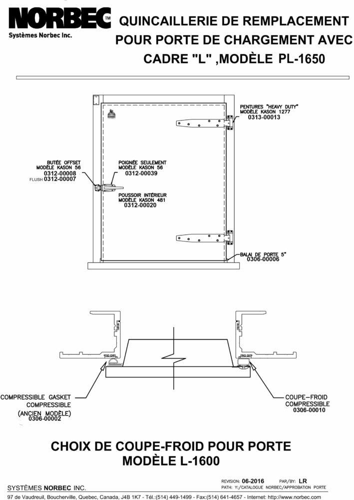 Pièces – Portes à charnières PL1650