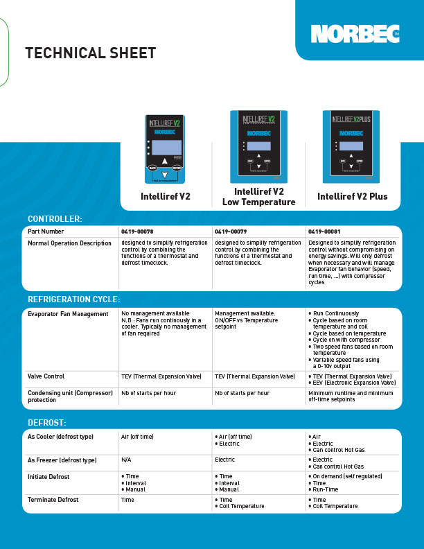 Intelliref V2 & Intelliref V2 Low Temperature Technical Sheet