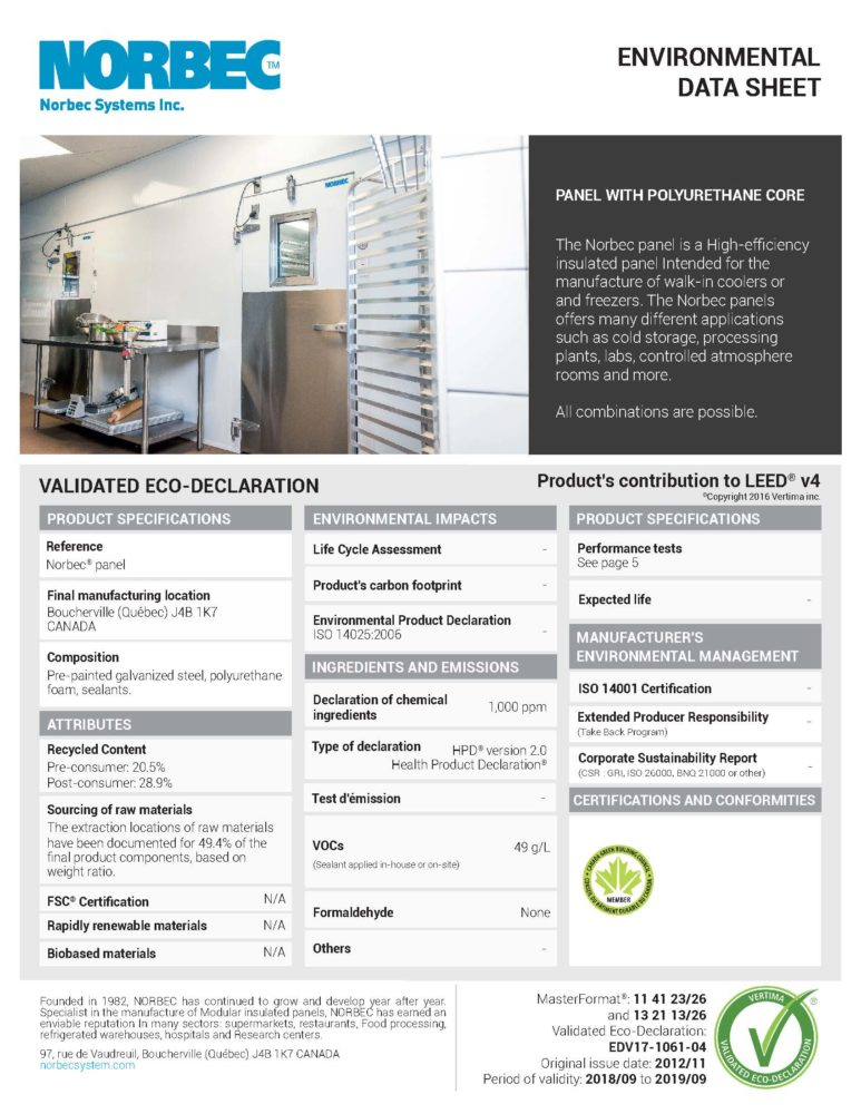 LEED TECHNICAL SHEET CAMLOCK PANEL