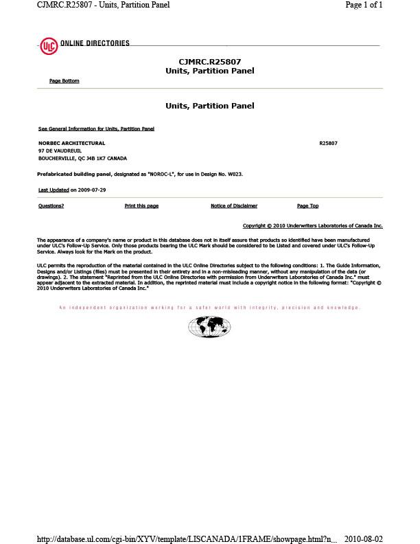 NOROC CAN /ULC S101 Résistance au feu