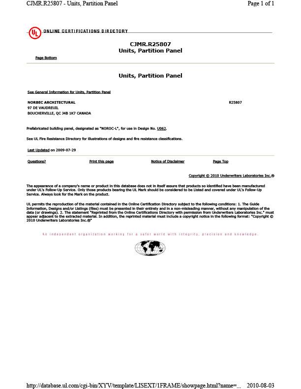 NOROC-L ANSI UL263 Résistance au feu