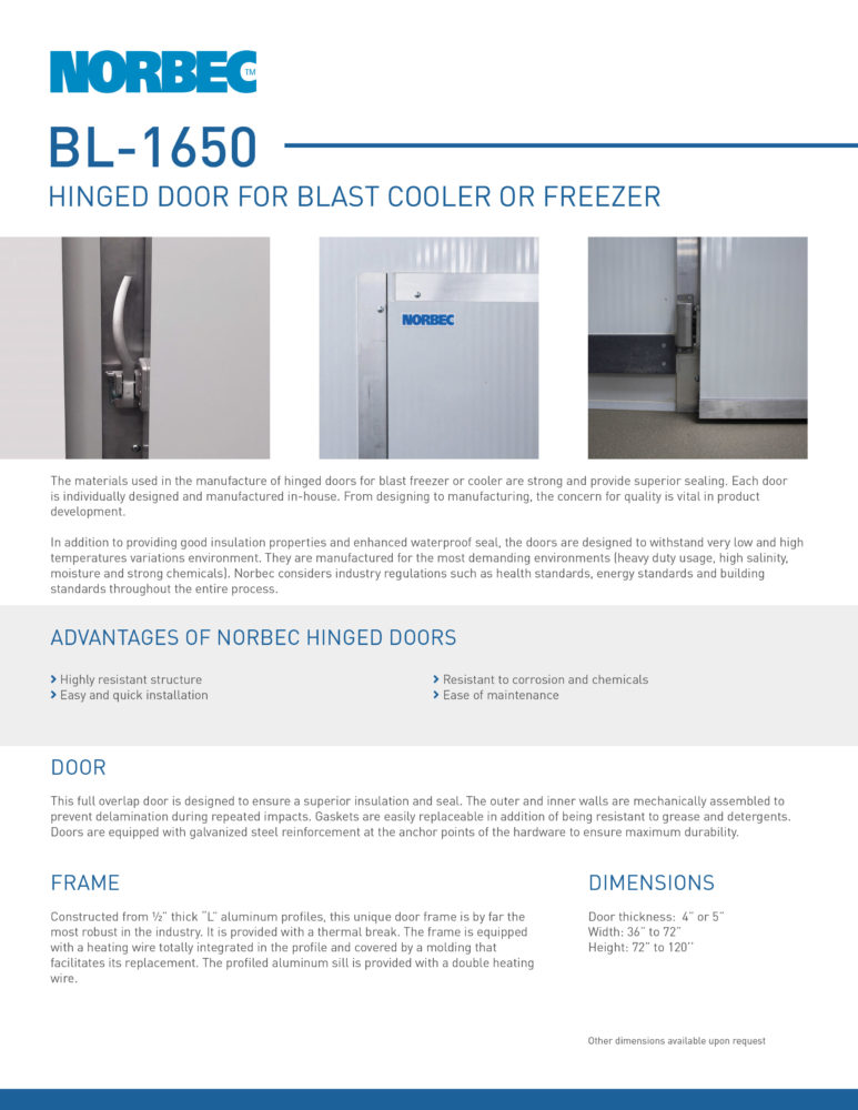 Door Technical Sheet BL-1650