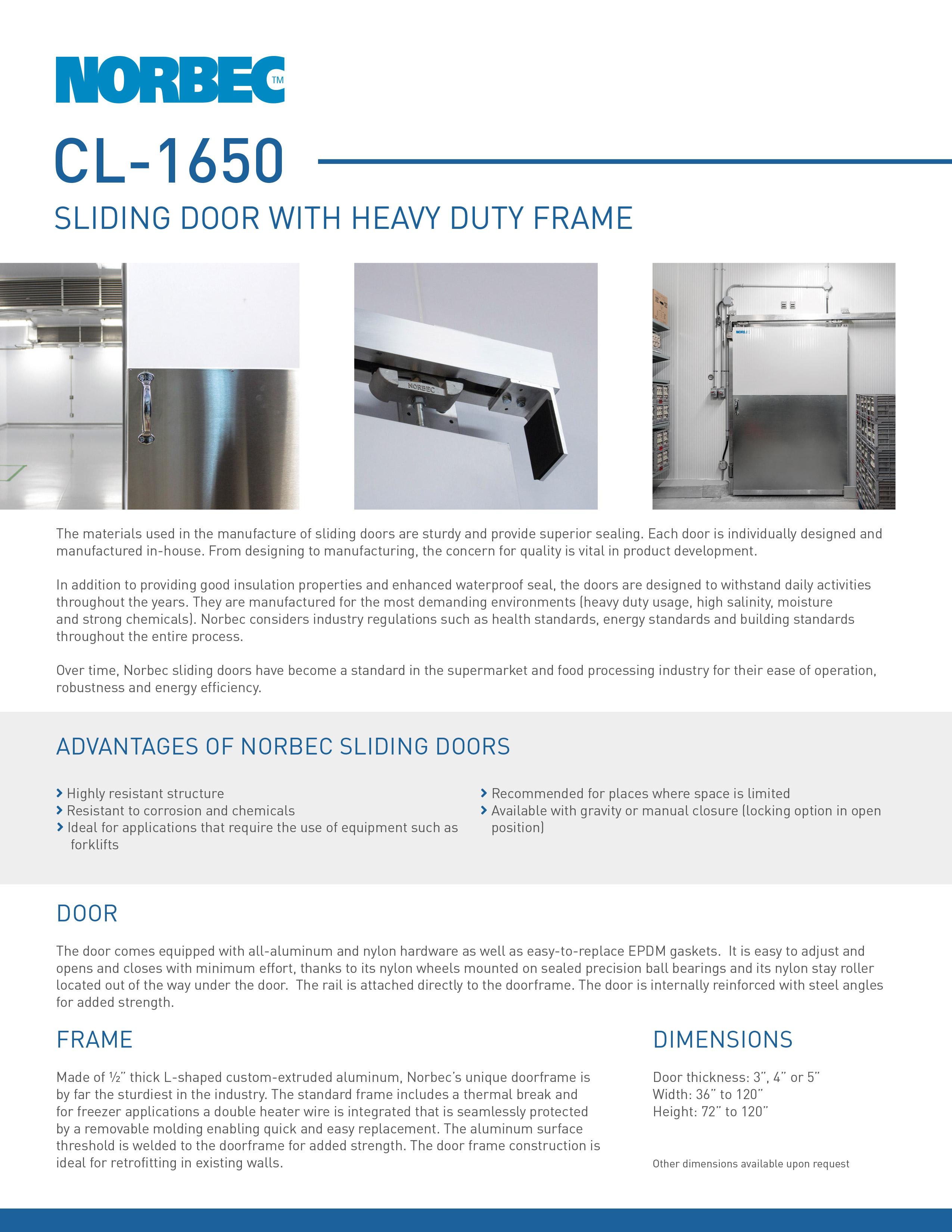 Door Technical Sheet CL-1650 - Norbec