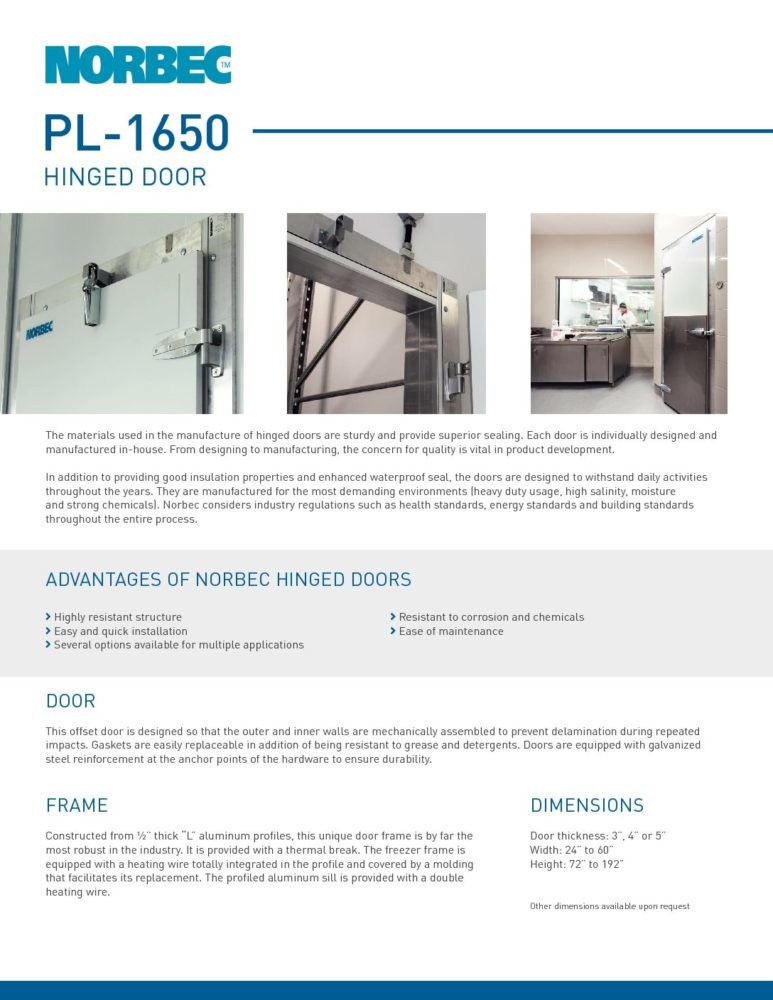 Door Technical Sheet PL-1650