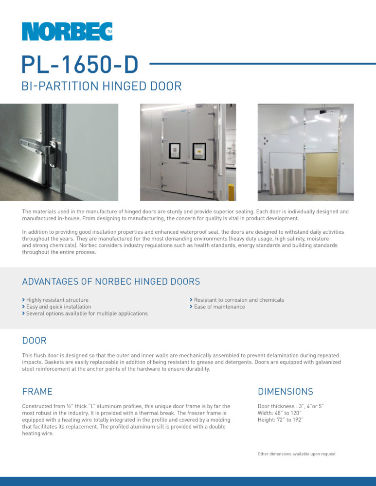 Door Technical Sheet PL-1650-D