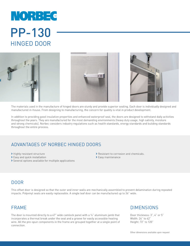 Door Technical Sheet PP-130