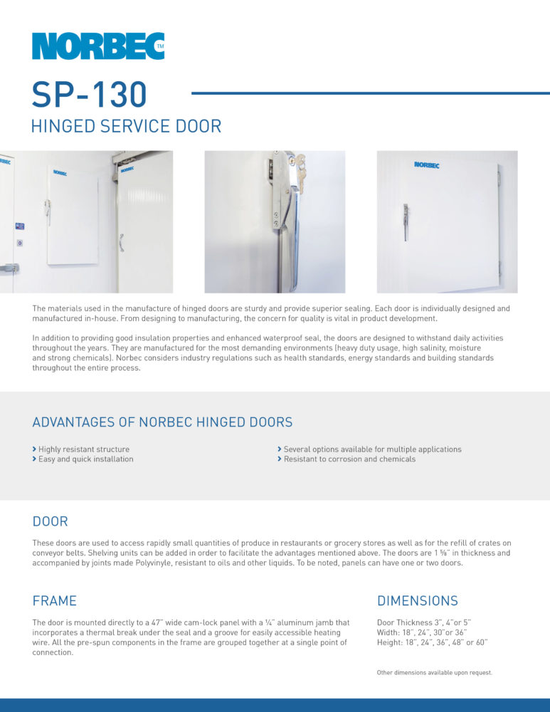 Door Technical Sheet SP-130
