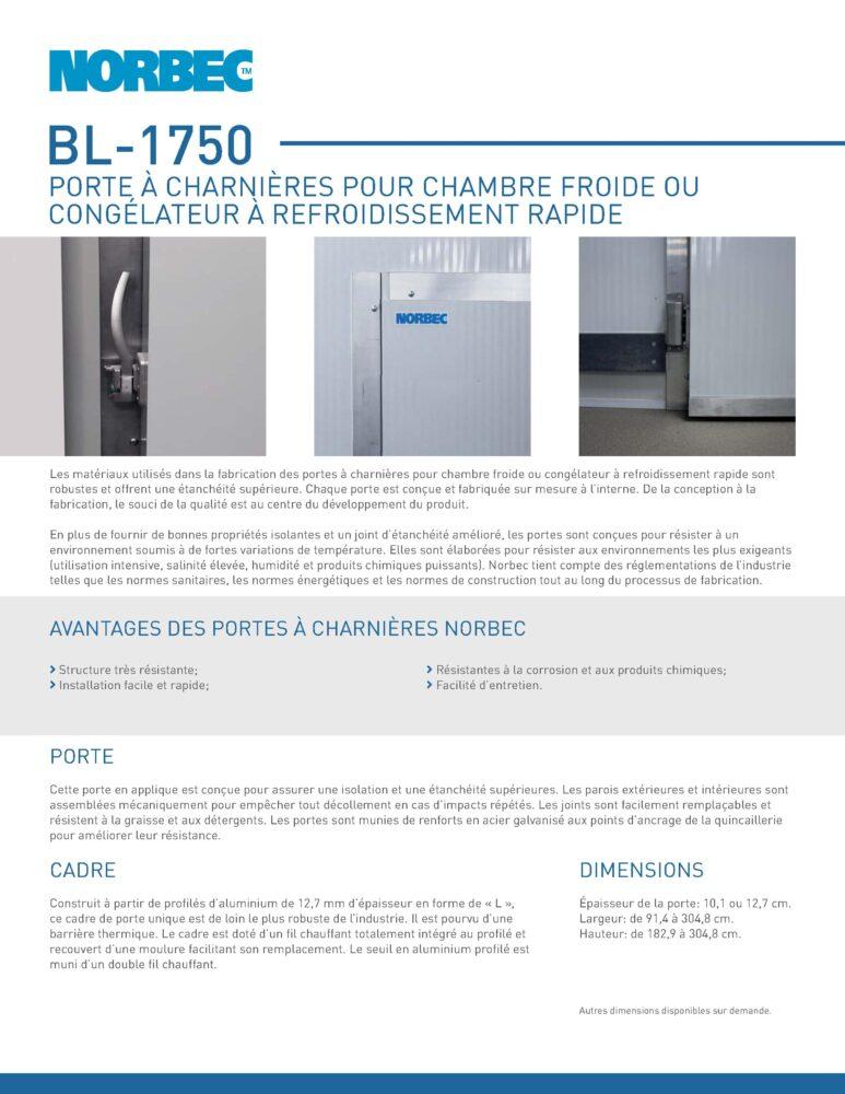 Fiche technique de porte BL-1750