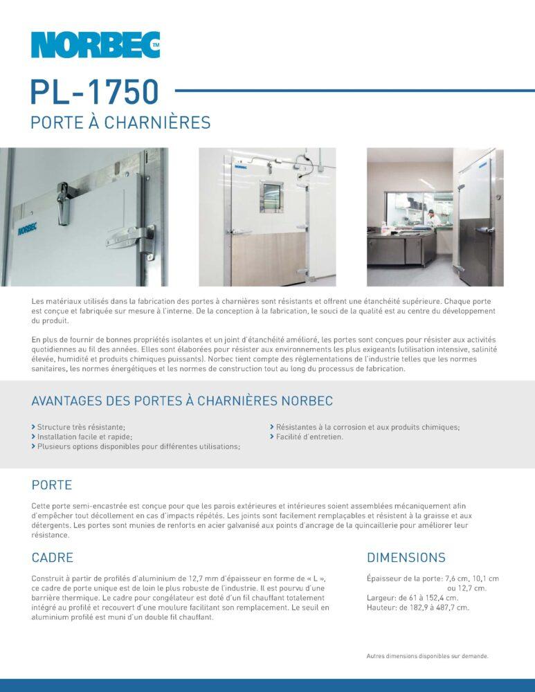 Fiche technique de porte PL-1750