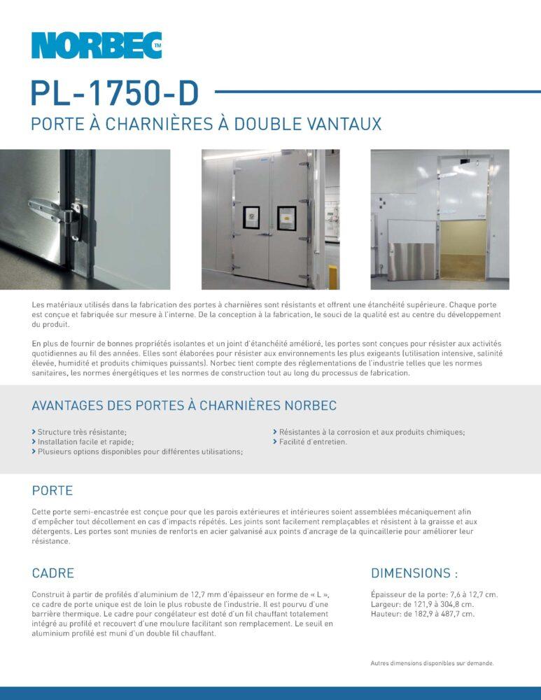 Fiche technique de porte PL-1750-D