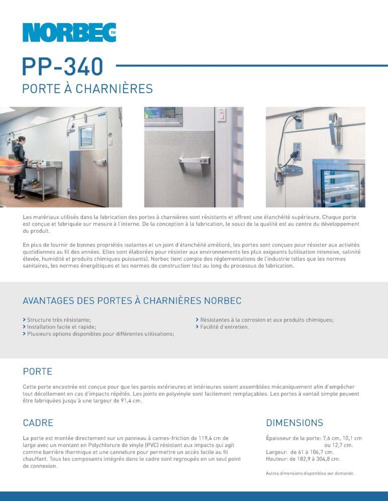 Fiche technique de porte PP-340