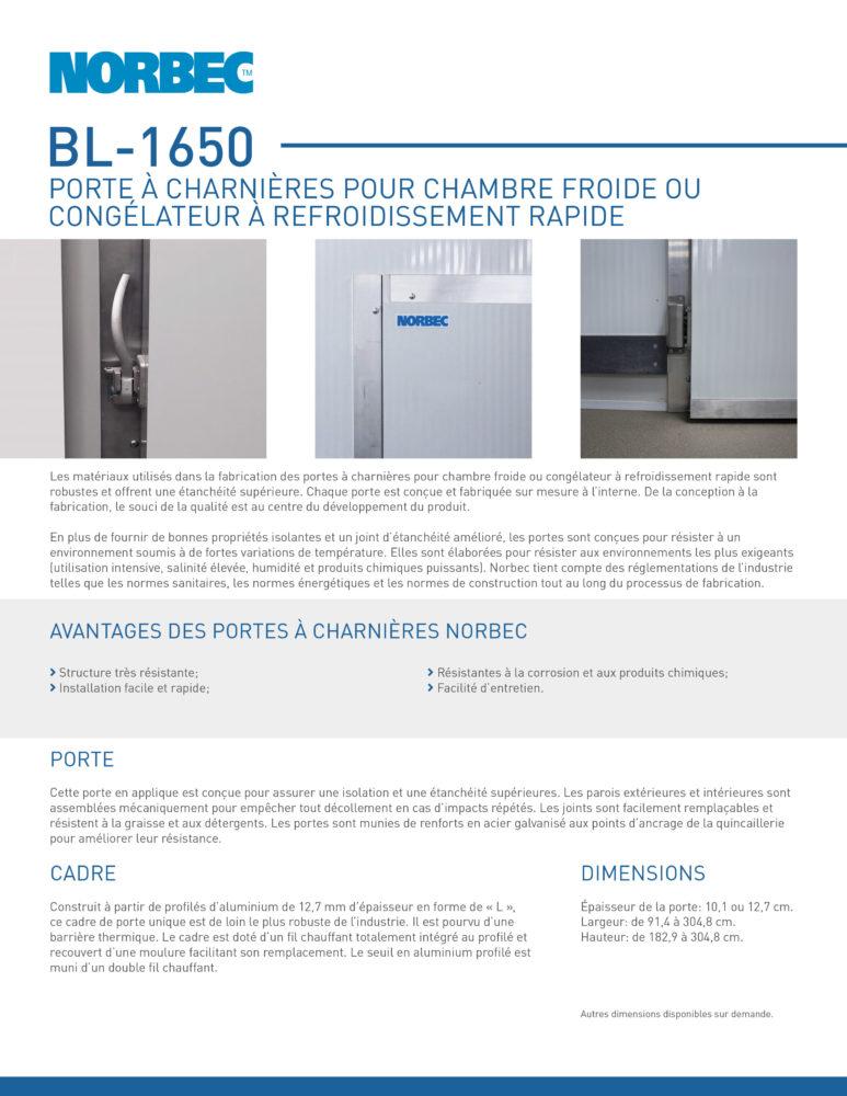 Fiche technique de porte BL-1650