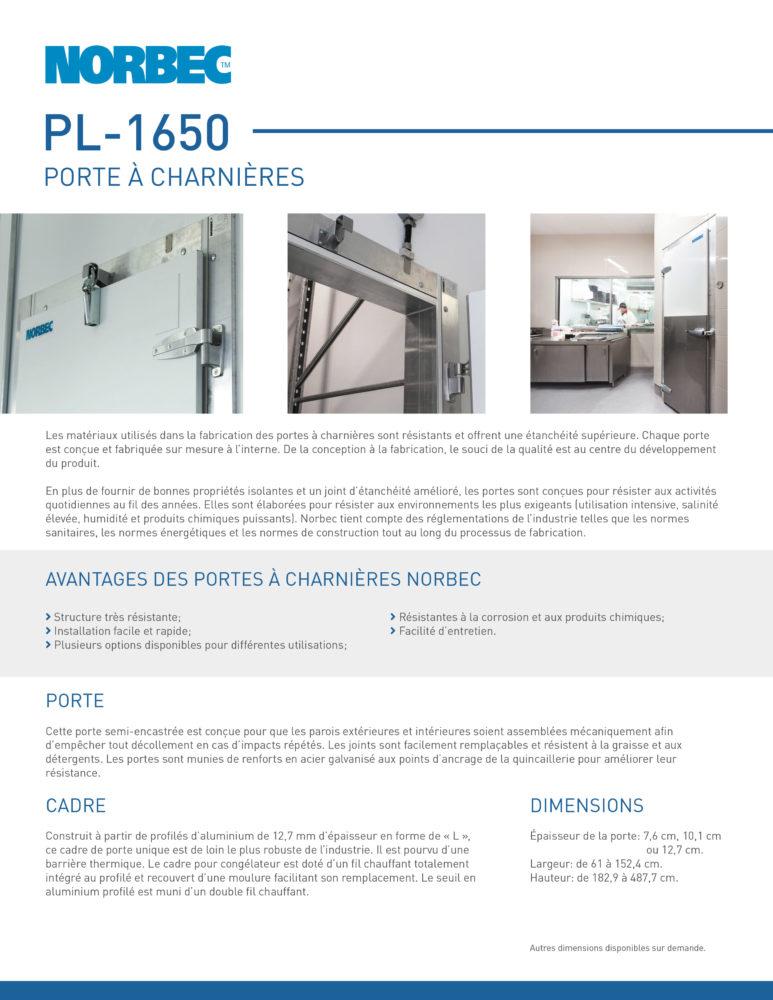 Fiche technique de porte PL-1650