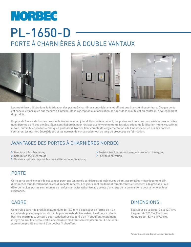 Fiche technique de porte PL-1650-D