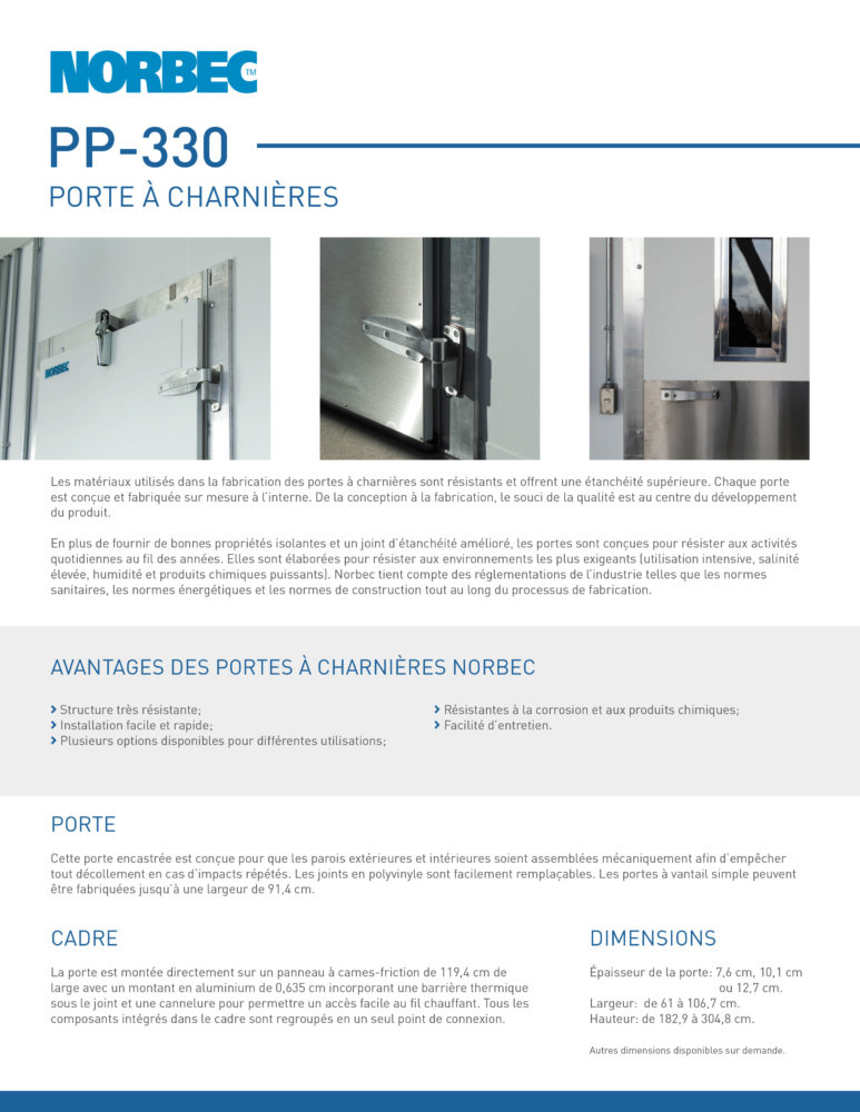 Fiche technique de porte PP-330
