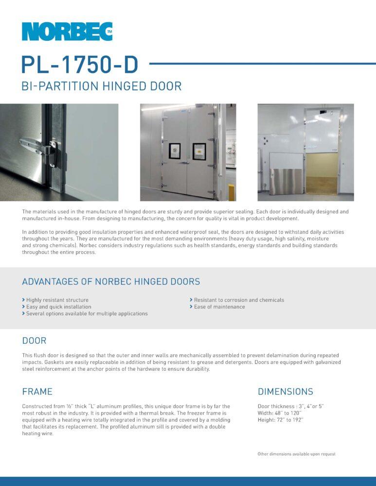Door Technical Sheet PL-1750-D
