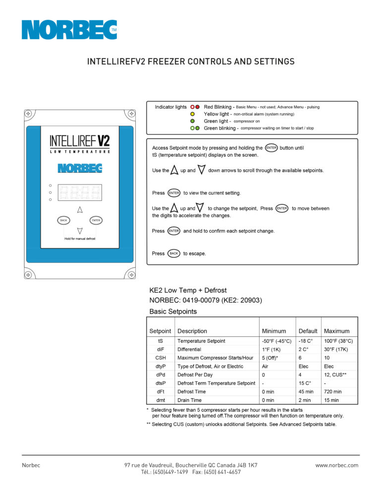 Intelliref V2 – Freezer Controls and Settings
