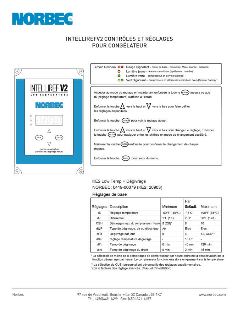 Intelliref V2 – Contrôles et réglages pour congélateur