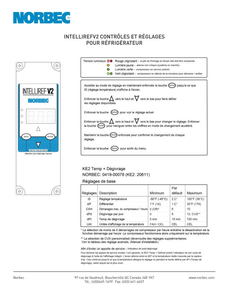 Intelliref V2 – Contrôles et réglages pour réfrigérateur