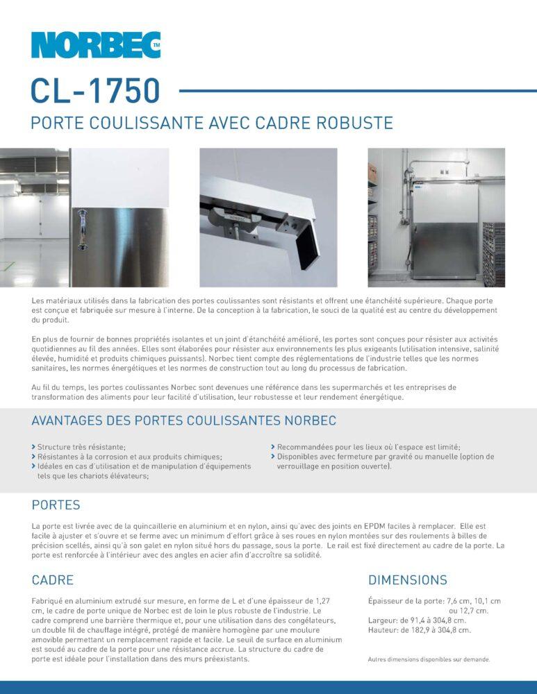 Fiche technique de porte CL-1750