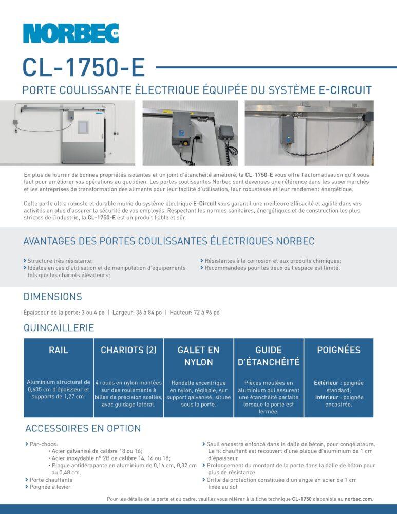 Fiche technique de porte CL-1750-E