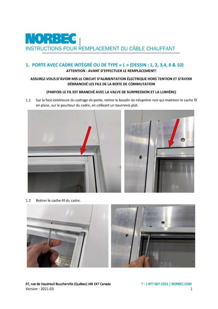 Instructions remplacement câble chauffant